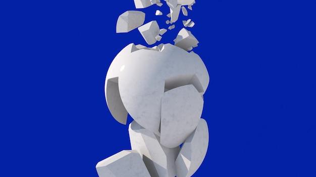 Esfera quebrada de mármore. fundo azul. ilustração abstrata, renderização 3d.