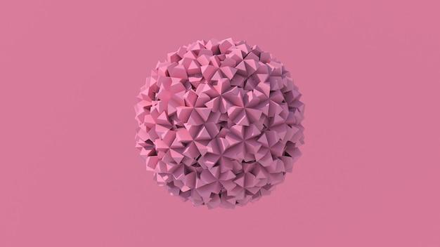 Esfera rosa abstrata. fundo rosa, renderização 3d.
