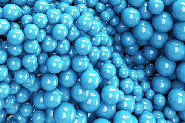 Esferas azuis fluindo. ilustração 3d criativa. fundo abstrato com formas geométricas. design moderno da capa. banner de anúncios ou modelo de folheto. papel de parede dinâmico moderno