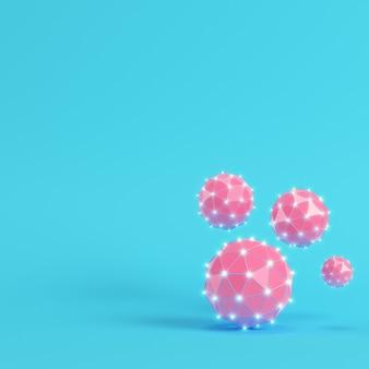 Esferas brilhantes rosa poli baixa sobre fundo azul brilhante