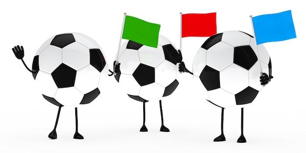 Esferas de futebol com bandeiras coloridas