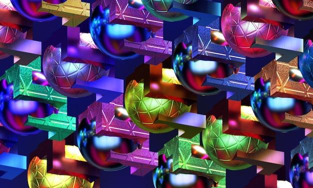 Esferas de metal entrelaçadas com figuras geométricas douradas padrão com fundo decorativo