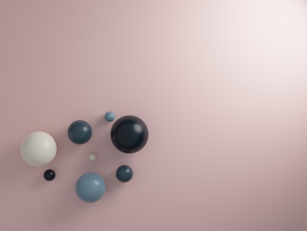 Esferas de renderização 3d em fundo rosa