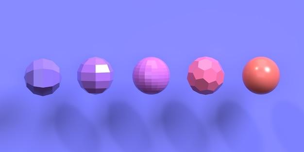 Esferas e poliedros com sombra projetada em fundo violeta. imagem decorativa