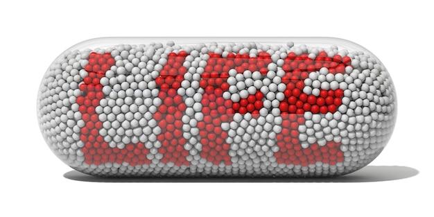 Esferas em concha de pílula transparente.