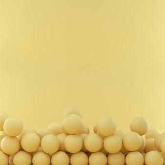 Esferas em fundo amarelo studio com espaço para texto ou desenho. renderização 3d.