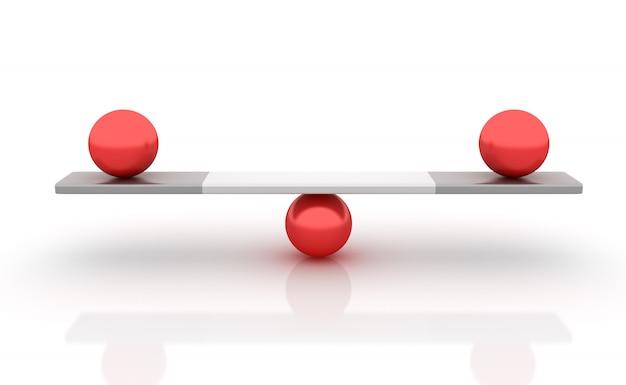 Esferas equilibrando em uma gangorra