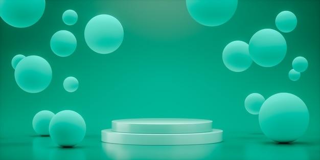 Esferas flutuantes com renderização em 3d de espaço vazio para design de produto mostrar cor azul