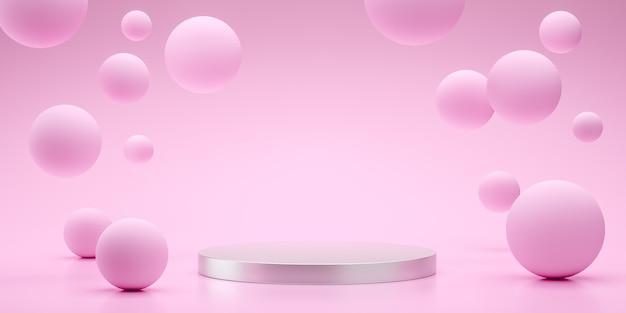 Esferas flutuantes renderizando 3d, espaço vazio para design de produto mostrar rosa