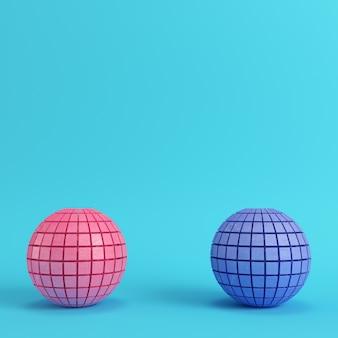 Esferas segmentadas abstratas em fundo azul brilhante
