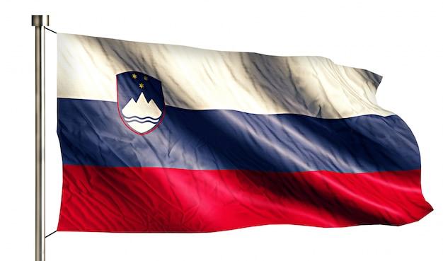 Eslovênia bandeira nacional isolada 3d fundo branco