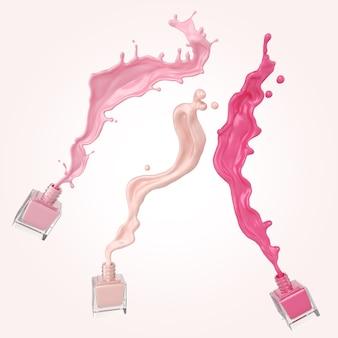 Esmalte colorido ou respingo de tinta laca colorido sobre fundo branco