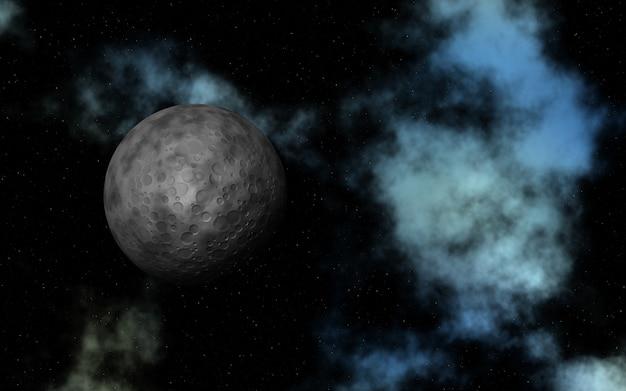 Espaço 3d abstrato com lua fictícia e nebulosa