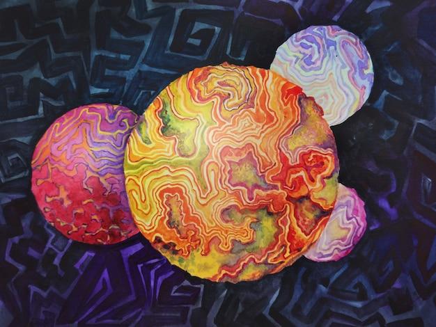Espaço abstrato do planeta terra. aquarela isolada desenho satélite cósmico de esfera molucolar sputnik. ilustração de fundo de textura de paisagem lunar de bolhas de água.