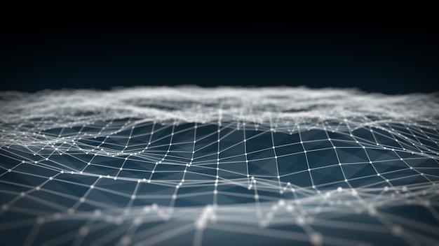 Espaço abstrato poligonal poli baixo fundo azul escuro com pontos e linhas de conexão. estrutura de conexão. fundo futurista de hud. ilustração 3d