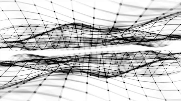 Espaço abstrato poligonal poli baixo fundo preto e branco com pontos e linhas de conexão. estrutura de conexão. fundo futurista de hud. ilustração 3d