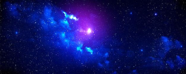 Espaço abstrato preto brilhante azul nebulosa galáxia estrela roxa espaço