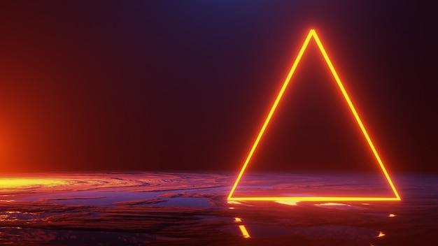 Espaço abstrato, triângulo de luz de néon, render 3d