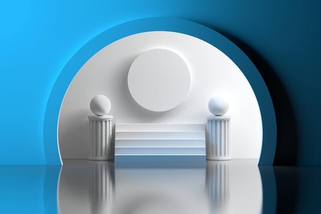 Espaço arquitetônico com esferas de pilares de stiars