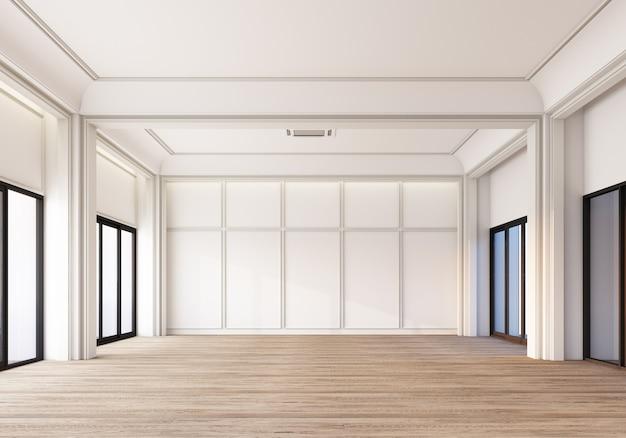 Espaço branco clássico moderno com decoração de painéis de parede e piso de madeira. renderização 3d