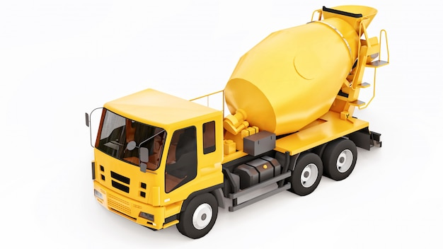 Espaço branco do caminhão alaranjado do misturador concreto. ilustração tridimensional de equipamentos de construção. renderização em 3d.