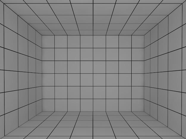 Espaço cinza com grade de perspectiva 3d