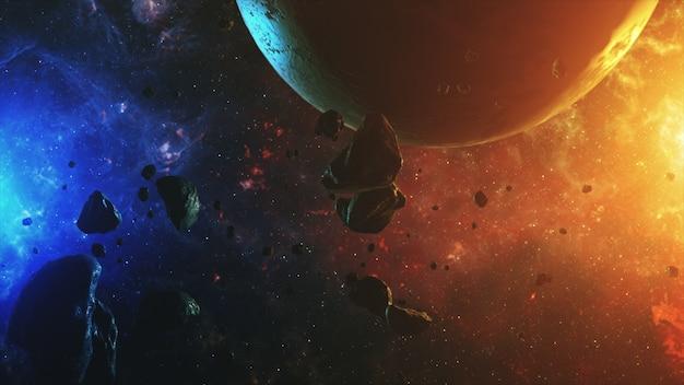 Espaço colorido com asteróides e planeta