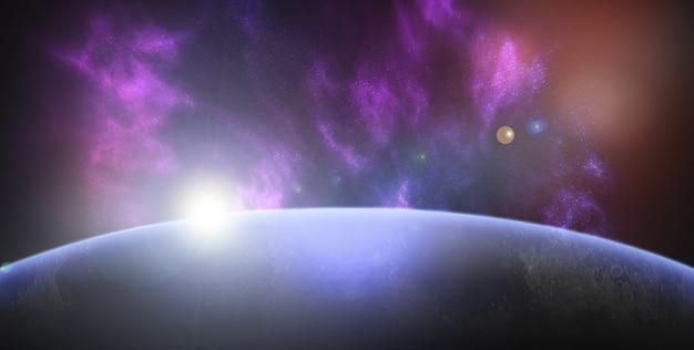 Espaço com fundo do planeta