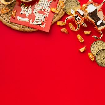 Espaço da cópia do boi dourado chinês de ano novo 2021