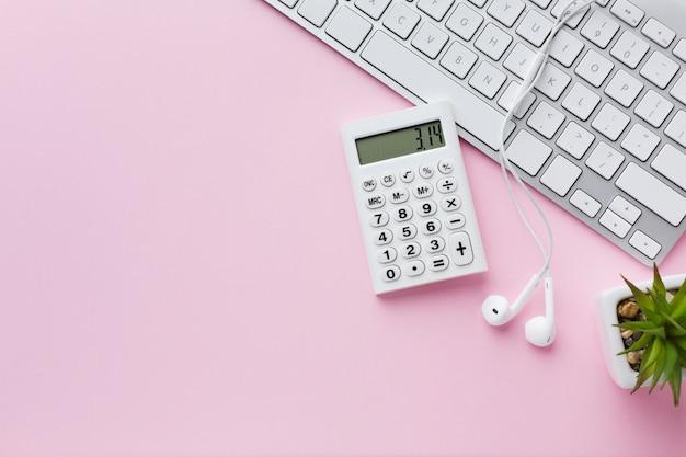 Espaço da cópia do teclado e da calculadora