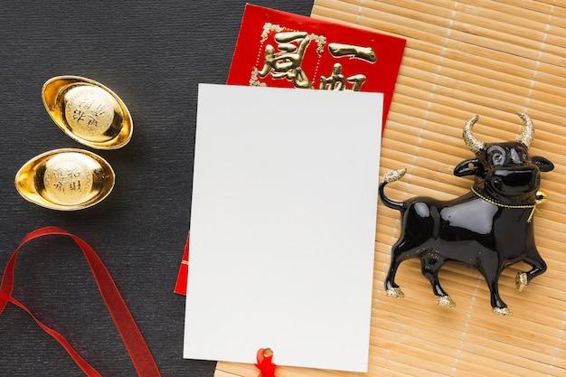 Espaço da cópia tradicional do boi chinês do ano novo
