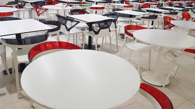 Espaço de alimentação com mesas e cadeiras de plástico branco e vermelho em um shopping sem gente.
