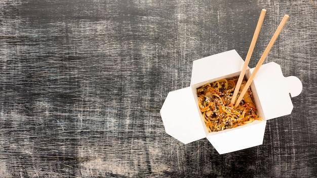 Espaço de cópia de canto direito de caixa de comida asiática