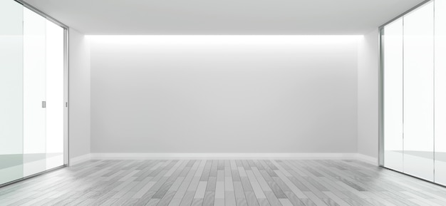 Espaço de cópia de design de quarto vazio branco com a renderização 3d do piso de madeira