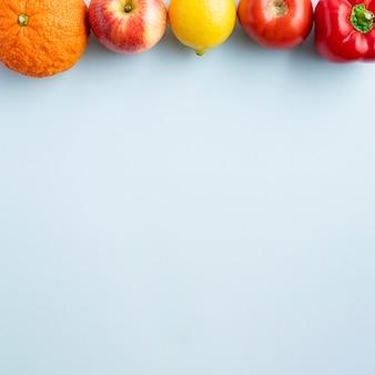 Espaço de cópia de fruta livre de ogm saudável deliciosa