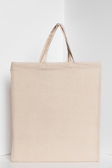 Espaço de cópia de sacola de tecido branco