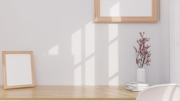 Espaço de maquete para montagem em maquete de quadro de pôster minimalista de mesa de trabalho de madeira na mesa e na parede 3d