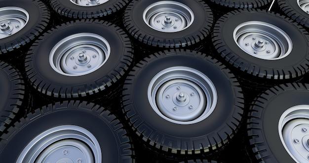 Espaço de pilha de pneus. 3d render. roda de carro