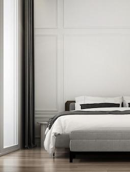 Espaço de quarto de luxo moderno e simulação de design de interiores de móveis e fundo de textura de parede