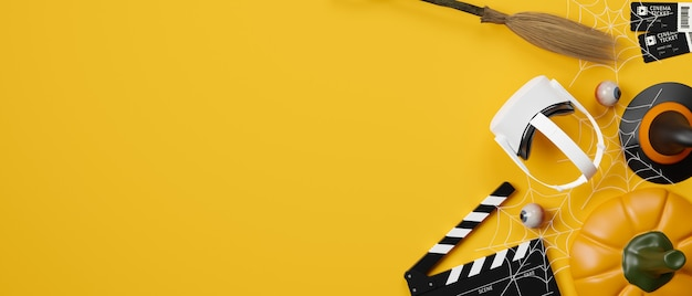Espaço de tema de halloween com banner de cinema experiência virtual para texto em fundo amarelo renderização 3d