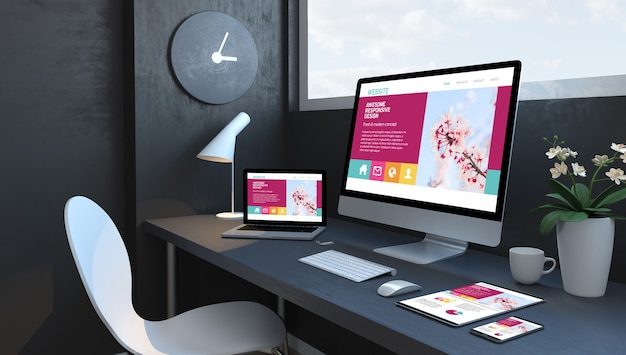 Espaço de trabalho azul marinho com dispositivos responsivos renderização 3d incrível site de design responsivo