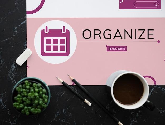 Espaço de trabalho com café e ilustração do calendário de lembretes do organizador pessoal