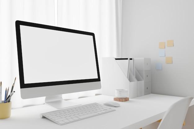 Espaço de trabalho com computador laptop de tela em branco. renderização 3d.