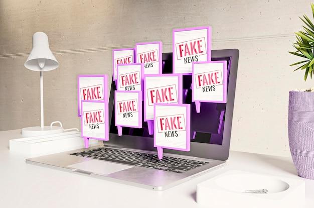 Espaço de trabalho com laptop e notícias falsas