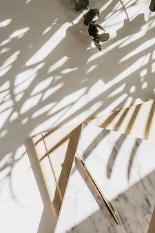 Espaço de trabalho de escritório em casa com caderno, eucalipto e vela em branco com sombra de planta