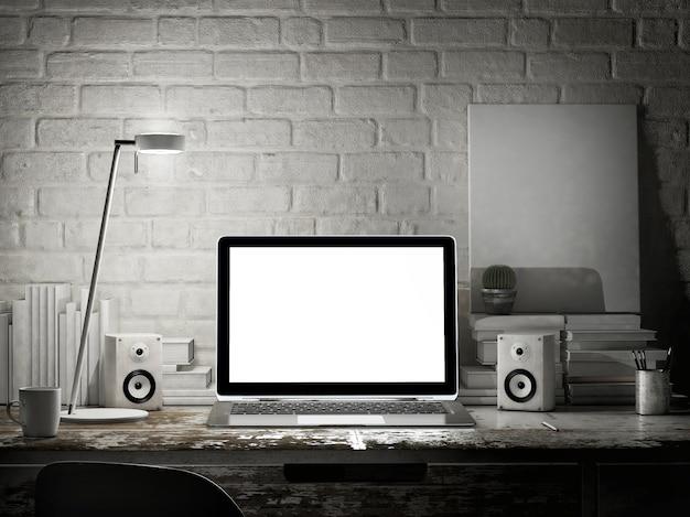 Espaço de trabalho de maquete com laptop vazio, cena noturna.