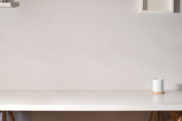 Espaço de trabalho de mesa e cópia espaço de trabalho branco
