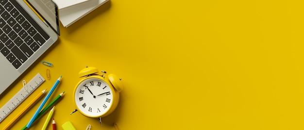 Espaço de trabalho de renderização 3d com despertador, lápis de cor, laptop em fundo amarelo com espaço de cópia