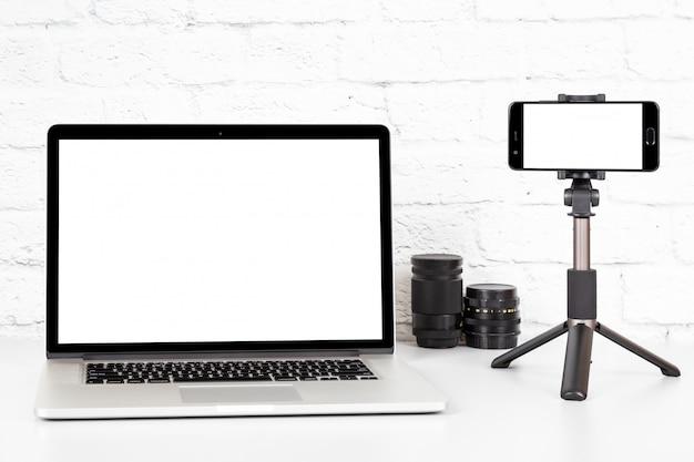 Espaço de trabalho do blogger de vídeo