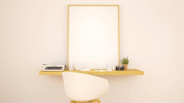 Espaço de trabalho e quadro para obras de arte - renderização em 3d